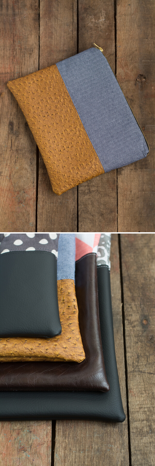 Cotton and Vinyl Pouch - Zipper Pouch Series   this heart of mine