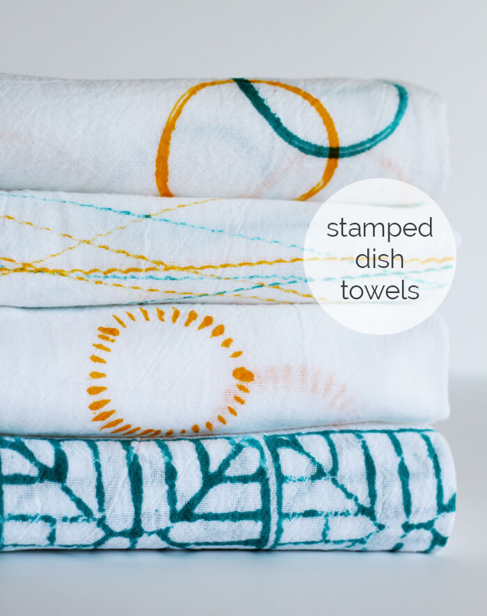 Stamped Dish Towels with Small + Friendly! | this heart of mine