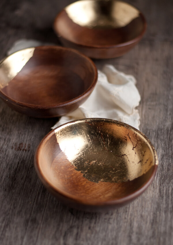 diy gold leaf wood bowls