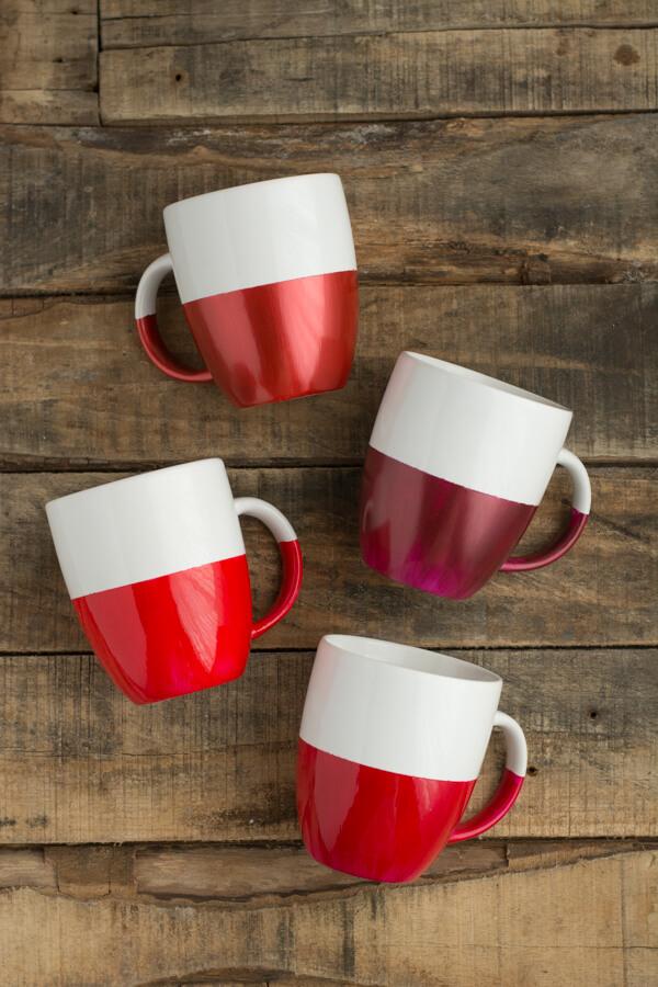 paint dipped mugs