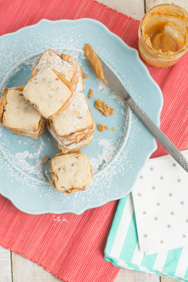 Pecan Shortbread with Dulce de Leche Sandwich Cookies | this heart of mine